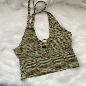 COPY - Spacedye Knit Halter Top With Resin Buckle…